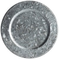 The Jay Companies 1810225-4 14 inch Round Galvanized Steel Charger Plate with Silver Beaded Rim