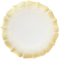 The Jay Companies 1900060 13 inch Pearl Gold Round Glass Contessa Charger Plate