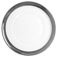 The Jay Companies 1875002SI Belmont 13 inch White and Silver Round Glass Charger Plate