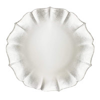 The Jay Companies 1900061 13 inch Pearl Silver Round Glass Contessa Charger Plate
