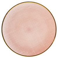 The Jay Companies 1875000PK 13 inch Pink Round Glass Laural Charger Plate