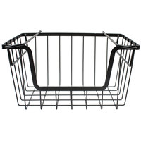 Tablecraft 240001 Grand Master Transformer Black Powder Coated Metal Stackable Hanging Basket - 16 1/2 inch x 12 1/4 inch x 9 1/4 inch