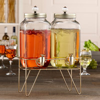 The Jay Companies 310185-2GB 3.1 Liter Style Setter Julian Double Glass Beverage Dispenser Set with Ornamental Top and Gold Wire Stand