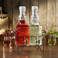 The Jay Companies 210626-GB 0.53 Gallon Style Setter Andrews Double Decanter Glass Beverage Dispenser Set with Ceramic Lid and Black Wire Stand