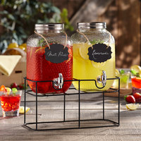 The Jay Companies 310236-GB 1 Gallon Style Setter Jacob Double Hammered Glass Beverage Dispenser Set with Hanging Blackboard Labels and Black Rectangular Wire Stand