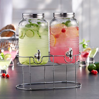 The Jay Companies 310235-GB 1 Gallon Style Setter Liam Double Beaded Glass Beverage Dispenser Set with Silver Wire Stand