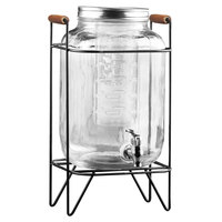 The Jay Companies 210741-GB 2.1 Gallon Style Setter Beck Glass Beverage Dispenser with Infuser and Black Wire Stand