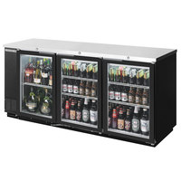 Beverage-Air BB72GY-1-BK-LED-WINE 72 inch Black Back Bar Wine Series Refrigerator - Narrow Depth, 3 Glass Doors