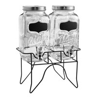 The Jay Companies 210839-GB 3.5 Qt. Style Setter Main Street Double Glass Beverage Dispenser Set with Black Wire Stand
