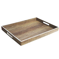 The Jay Companies 1270274 14 inch x 19 inch American Atelier Poplar Polypropylene Room Service Tray with White Rim
