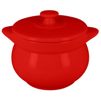 RAK Porcelain CFST10BR Chef's Fusion 15.2 oz. Ember Red Round Porcelain Tureen with Lid - 2/Case