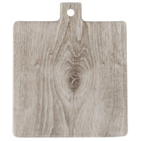 American Metalcraft BWM9 7 3/4 inch x 7 3/4 inch x 5/8 inch Faux Whitewash Wood Melamine Square Serving Board with Handle