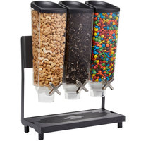 Rosseto EZ576 EZ-PRO 3.8 Liter Triple Canister Countertop Snack / Cereal Dispenser with Black Stainless Steel Stand and Catch Tray - 16 inch x 8 inch x 21 inch
