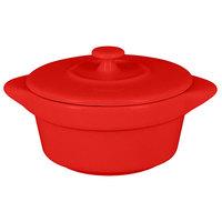 RAK Porcelain CFRD09BR Chef's Fusion 3.8 oz. Ember Red Porcelain Mini Cocotte with Lid - 12/Case