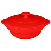 RAK Porcelain CFRD16BR Chef's Fusion 15.8 oz. Ember Red Round Porcelain Cocotte with Lid - 4/Case