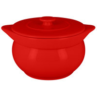 RAK Porcelain CFST15BR Chef's Fusion 38.9 oz. Ember Red Round Porcelain Tureen with Lid - 2/Case