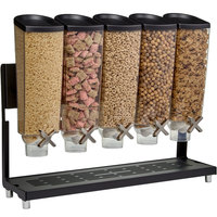 Rosseto EZ577 EZ-PRO 3.8 Liter Five Canister Countertop Snack / Cereal Dispenser with Black Stainless Steel Stand and Catch Tray - 26 inch x 8 inch x 21 inch