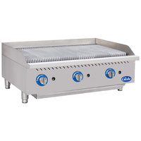 Globe GCB36G-CR 36 inch Gas Charbroiler with Cast Iron Radiants - 120,000 BTU