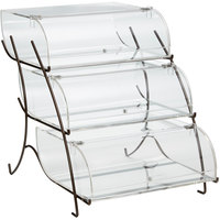 Rosseto BK023 Clear Acrylic Three-Tier Pastry Display Case with Bronze Wire Stand - 22 7/16 inch x 15 inch x 17 1/4 inch