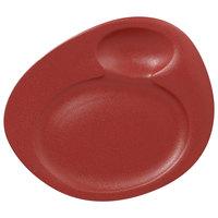 RAK Porcelain NFNBFP32DR Neo Fusion 12 9/16 inch Magma Dark Red 2-Basin Porcelain Plate - 6/Case