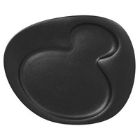 RAK Porcelain NFNBFP24BK Neo Fusion 9 7/16 inch Volcano Black 2-Basin Porcelain Plate - 12/Case