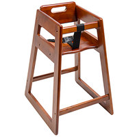 CSL 900DK-KD Youngstar Ready-to-Assemble Stacking Restaurant Wood High Chair with Dark Finish