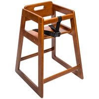 CSL 900DK Youngstar Assembled Stacking Restaurant Wood High Chair with Dark Finish