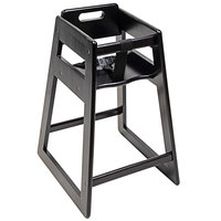 CSL 900BL-KD Youngstar Ready-to-Assemble Stacking Restaurant Wood High Chair with Black Finish