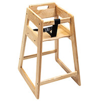CSL 900LT-KD Youngstar Ready-to-Assemble Stacking Restaurant Wood High Chair with Light Finish