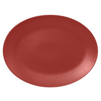 RAK Porcelain NFNNOP36DR Neo Fusion 14 3/16 inch x 10 5/8 inch Magma Dark Red Porcelain Oval Coupe Platter - 6/Case