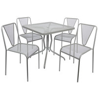 BFM Seating YQ-TS32S Nexus 32 inch Square Titanium Silver E-Coated Steel Outdoor Dining Height Table Set