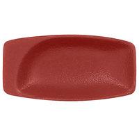RAK Porcelain NFMZMR11DR Neo Fusion 4 1/4 inch x 2 1/8 inch Magma Dark Red Porcelain Mini Rectangular Dish - 6/Case
