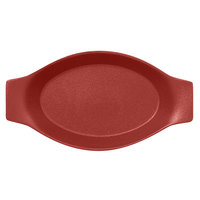 RAK Porcelain NFOPOD30DR Neo Fusion 11 13/16 inch x 6 5/16 inch Magma Dark Red Porcelain Oval Dish with Handles - 6/Case