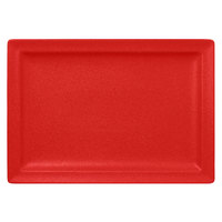 RAK Porcelain NFCLRP33BR Neo Fusion 13 inch x 9 1/16 inch Ember Red Porcelain Rectangular Flat Plate - 6/Case
