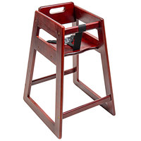 CSL 900MH-KD Youngstar Ready-to-Assemble Stacking Restaurant Wood High Chair with Mahogany Finish
