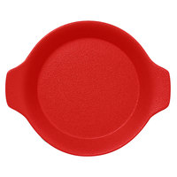 RAK Porcelain NFOPRD16BR Neo Fusion 8 7/16 inch x 7 1/8 inch Ember Red Porcelain Dish with Handles - 12/Case