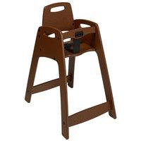 CSL 933BRN Youngstar Assembled Brown Stacking Restaurant Plastic High Chair