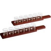 Acopa 19 1/2 inch Six-Hole Mahogany Finish Flight Paddles with 2.5 oz. Taster Glasses - 2/Set