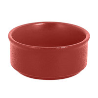 RAK Porcelain NFBABR02DR Neo Fusion 3.4 oz. Magma Dark Red Stackable Porcelain Ramekin - 12/Case