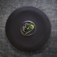RAK Porcelain NFMRFP30BK Neo Fusion 11 13/16 inch Volcano Black Porcelain Plate - 12/Case