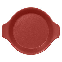 RAK Porcelain NFOPRD16DR Neo Fusion 8 7/16 inch x 7 1/8 inch Magma Dark Red Porcelain Dish with Handles - 12/Case