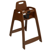 CSL 933BRNKD Youngstar Ready-to-Assemble Brown Stacking Restaurant Plastic High Chair