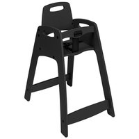 CSL 933BLKKD Youngstar Ready-to-Assemble Black Stacking Restaurant Plastic High Chair