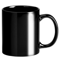 Choice 12 oz. Black C-Handle Stoneware Mug - 12/Pack