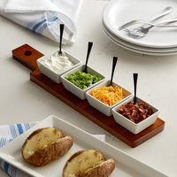 Acopa Dual-Sided Flight Paddle with Square Tasting Bowls - 3/Case