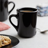 Choice 8 oz. Black Tiara Stoneware Mug - 12/Pack