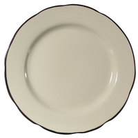 CAC SC-5B Seville 5 1/2 inch Ivory (American White) Scalloped Edge China Plate with Black Band - 36/Case