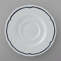 Tuxton SBE-050 TuxTrendz Charleston Bright White 5 1/2 inch Scalloped Edge China Demitasse Saucer with Blue Band - 36/Case