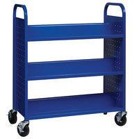 Hirsh Industries 21787 38 inch x 18 inch x 46 1/4 inch Blue 6-Shelf Book Cart