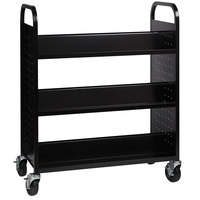Hirsh Industries 21786 38 inch x 18 inch x 46 1/4 inch Black 6-Shelf Book Cart